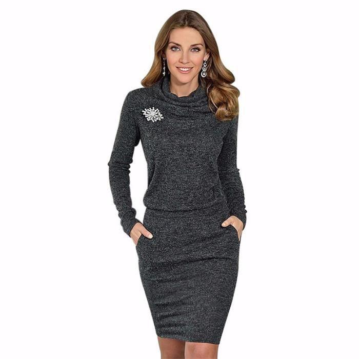 465fab6dcf383 Robe Pull Haut Col Couleur Noir à Longues Manches pour Femme Automne Hiver  Nouveau Vogue Mode