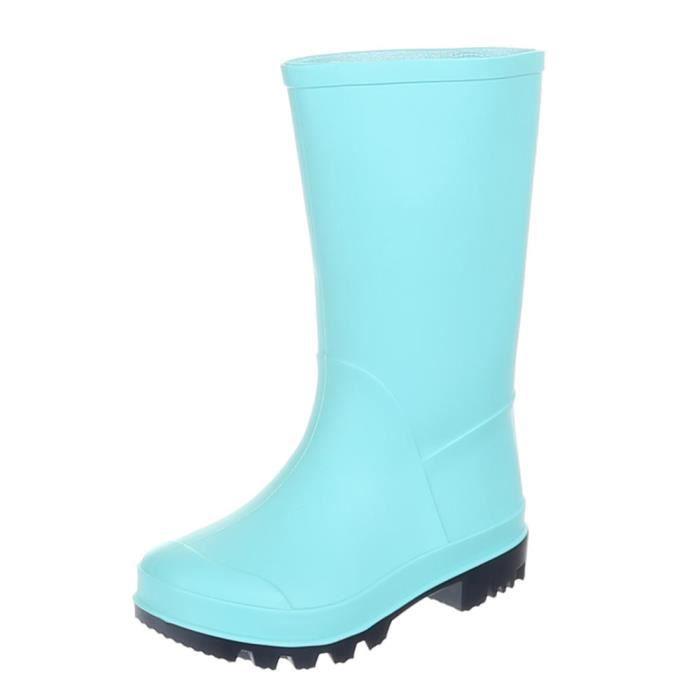 Chaussures pour enfants botte fille jeune chaussures de pluie caoutchouc Bleu clair 33