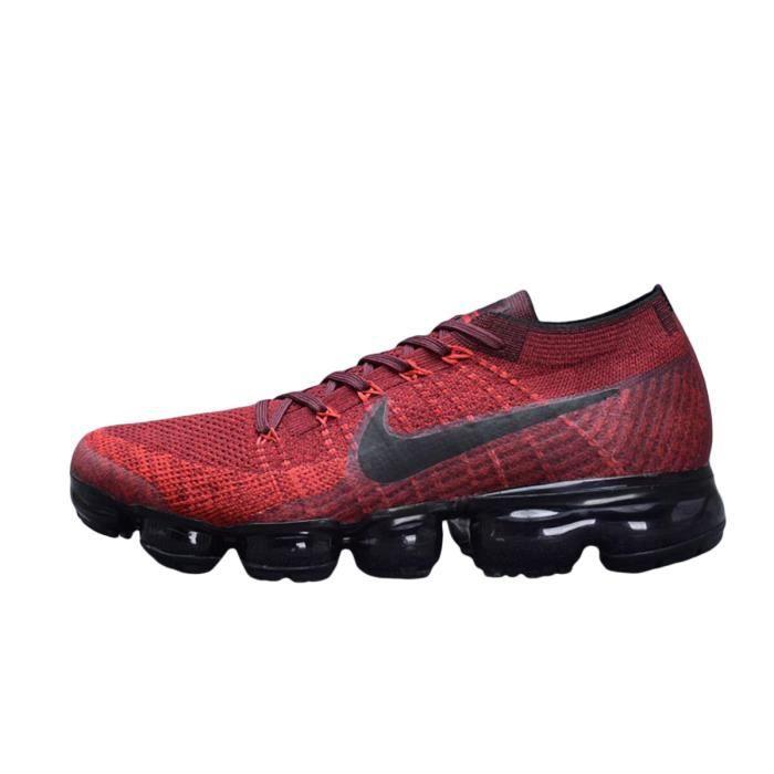 c34030ef69c732 Basket Nike Air VaporMax Flyknit Pour Homme Chaussure De Running Armée Rouge  et Noir 849558-601