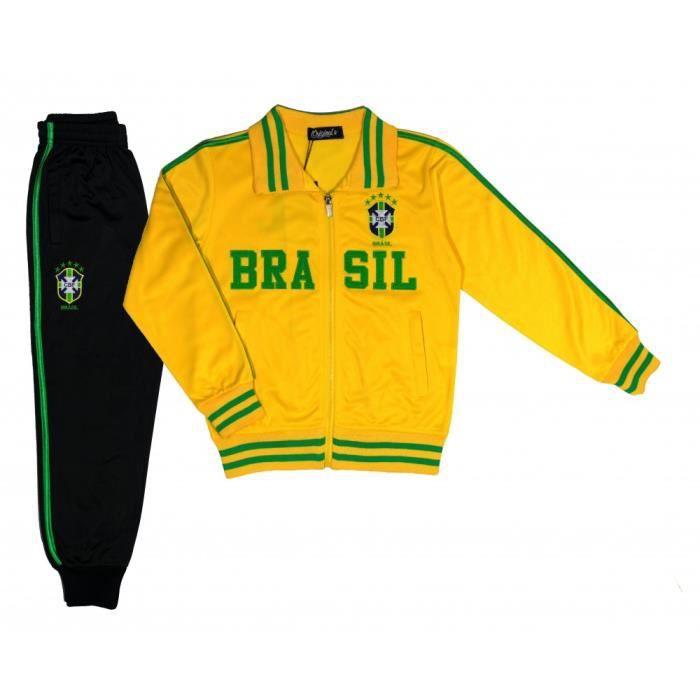 4cbee6bcfedbf ... Taille de 4 à 14 ans. SURVÊTEMENT Jogging survêtement foot Brésil  enfant jaune news