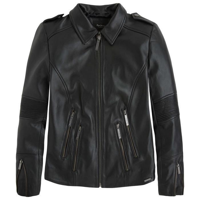 93dbe1f3dac PEPE JEANS Lily Blouson Femme - Taille M - NOIR Noir Noir - Achat ...