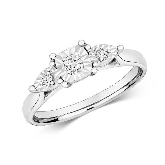 Bague Femme Trilogie Or Blanc 375-1000 et Diamant Brillant 0.10 Carat GH - I1 40302