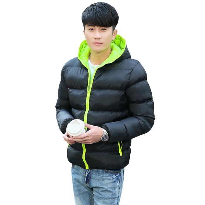 Outwear chaud Veste d'hiver pour hommes coupe vent Capuche Hommes Femmes@ vert
