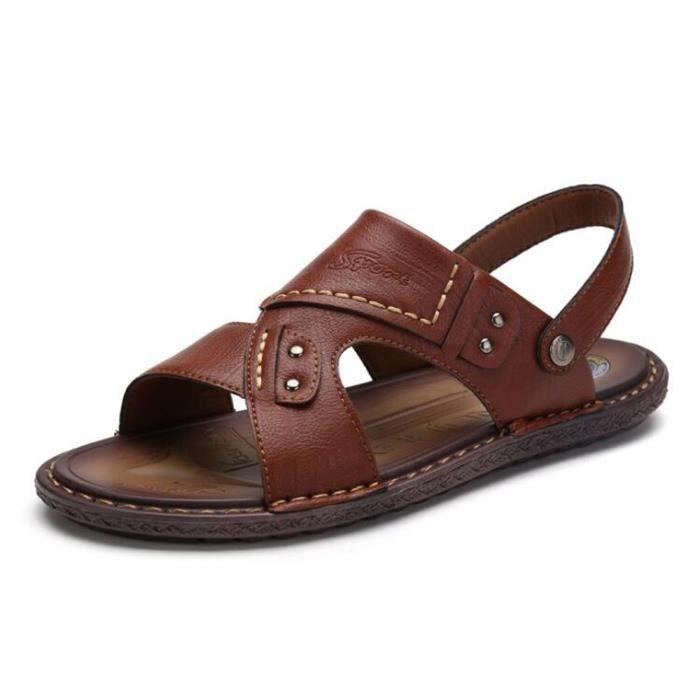 Pour Beach Sandales Leather Respirant Extérieurs Nouveaux Chaussures Été Hommes Cuir Fisherman Décontractées KF1clJT