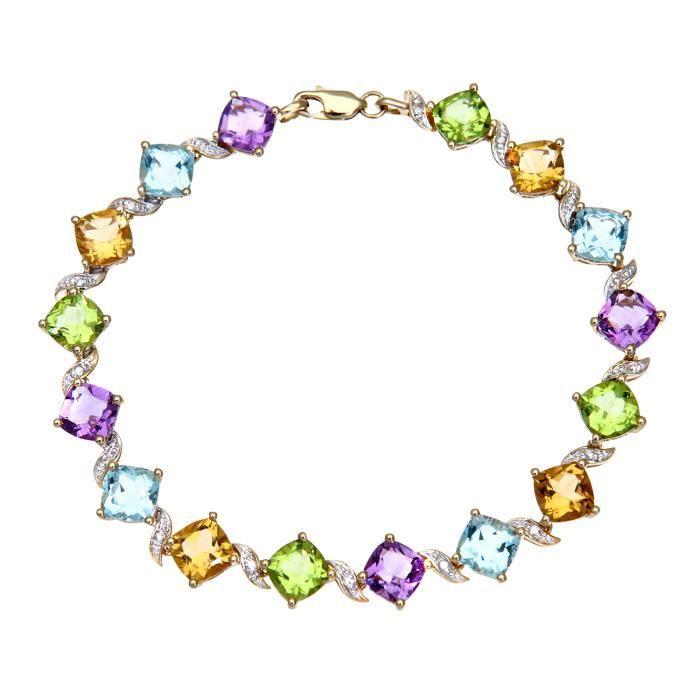 Revoni - Bracelet en or jaune 9 carats, pierres multicolores et diamants - REVCDPBC02591YMulti