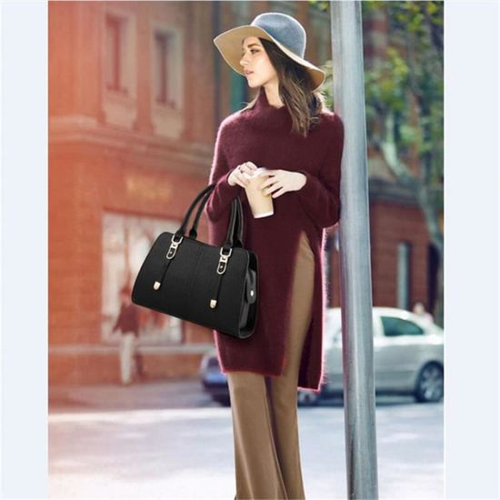xfp Main En Sac b069 Femmes Métal Noir Classique Bandouliere Cuir Attaches A Mode X56Z6qPw