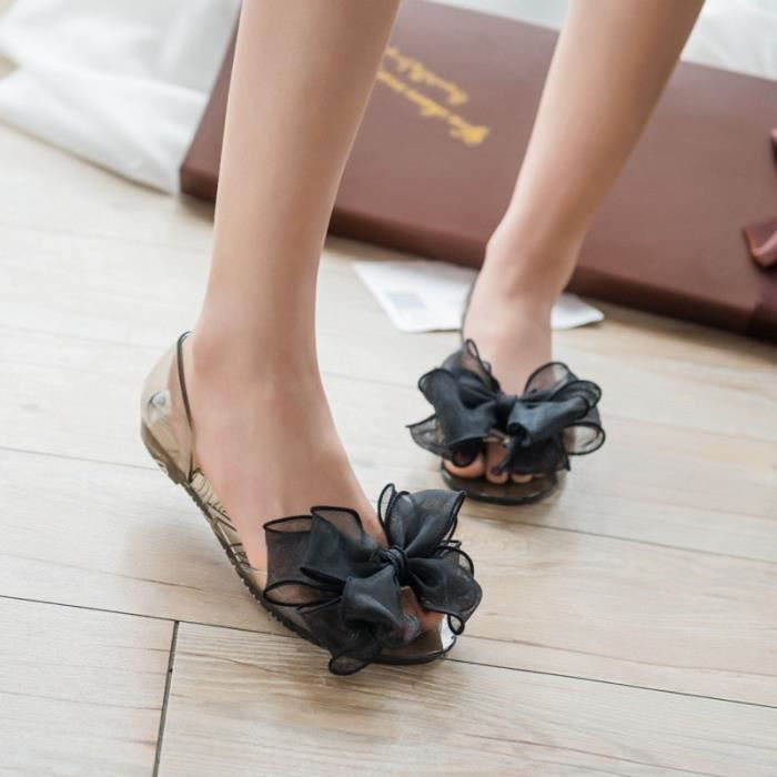 Cristal Sandales Casual Jelly plage Chaussures plates Transparent fleurs bowknot Set Chaussures Femmes Chaussures