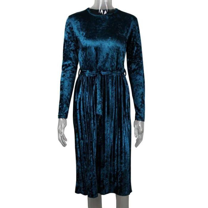 Robe longue Femme Pleuche Longue Manches Robe de Soirée Plissée Ceinture Printemps lautomne-18