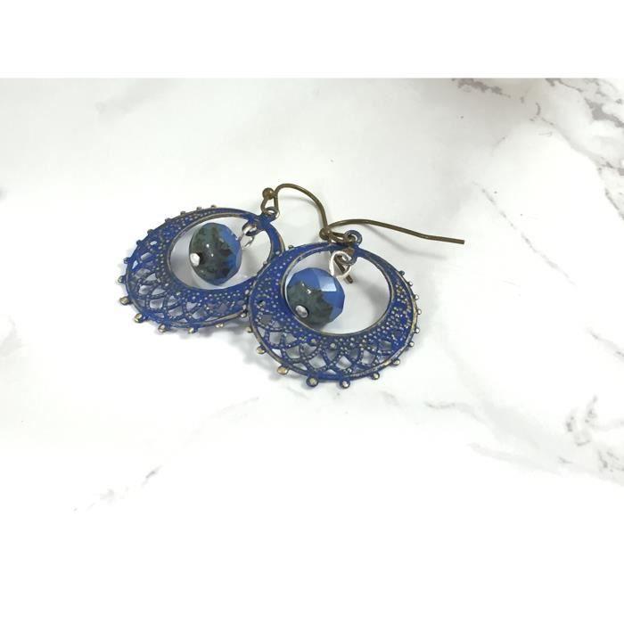 Légère Bleu Filagree byzantine Boucles doreilles en laiton antique de la femme E4BIK