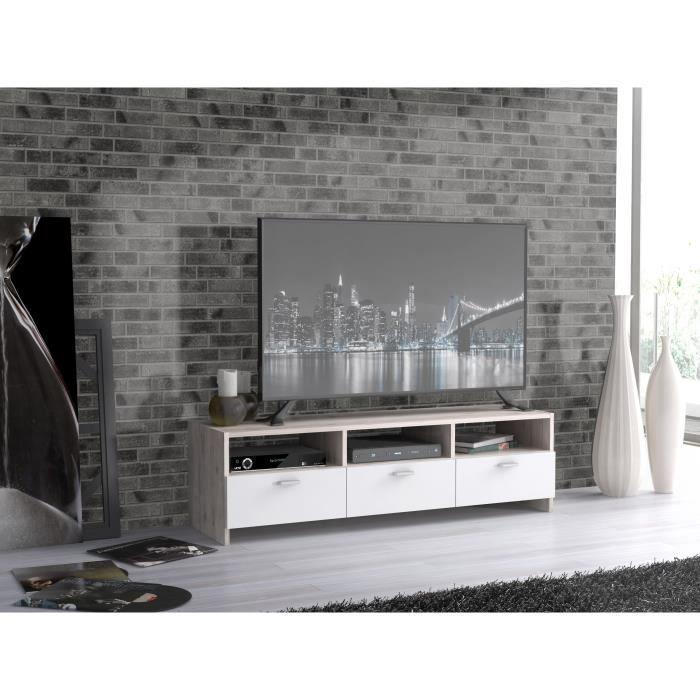 FINLANDEK Meuble TV HELPPO contemporain décor chªne et blanc L