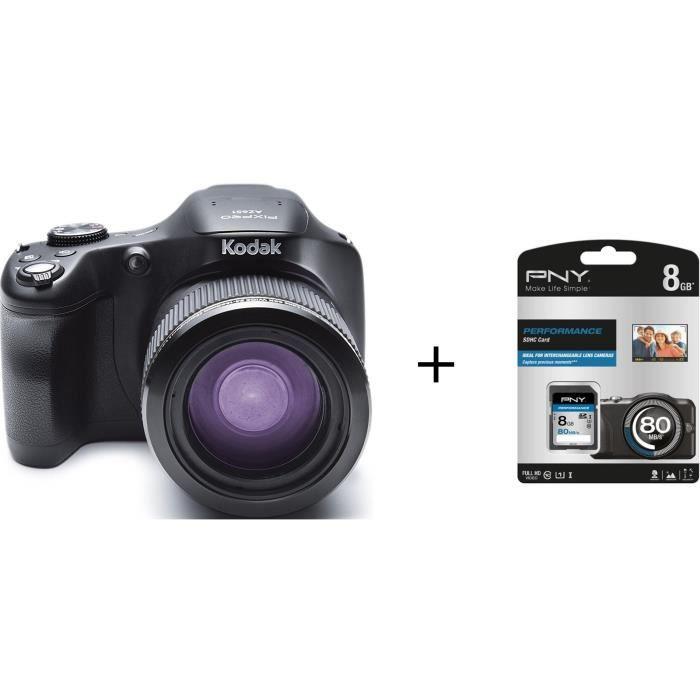 Pack KODAK AZ651 - PIXPRO Appareil photo numérique noir + Carte mémoire SDHC 8 Go