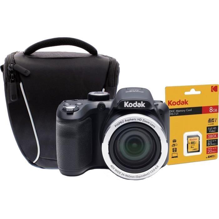Appareil photo numérique Bridge 16 Megapixels - Zoom optique 40x - Grand angle 24mm - Stabilisateur d'image + Carte mémoire SDHC 8GB classe 10 U1 Premium + Sacoche pour appareil photo - Collection : ONE SHOT- Composition : Nylon, polyester, PVC - PocPACK