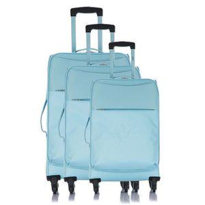 LES P'TITES BOMBES Set de 3 Valises Souple 4 Roues 50-60-69 cm ANA?S Blue