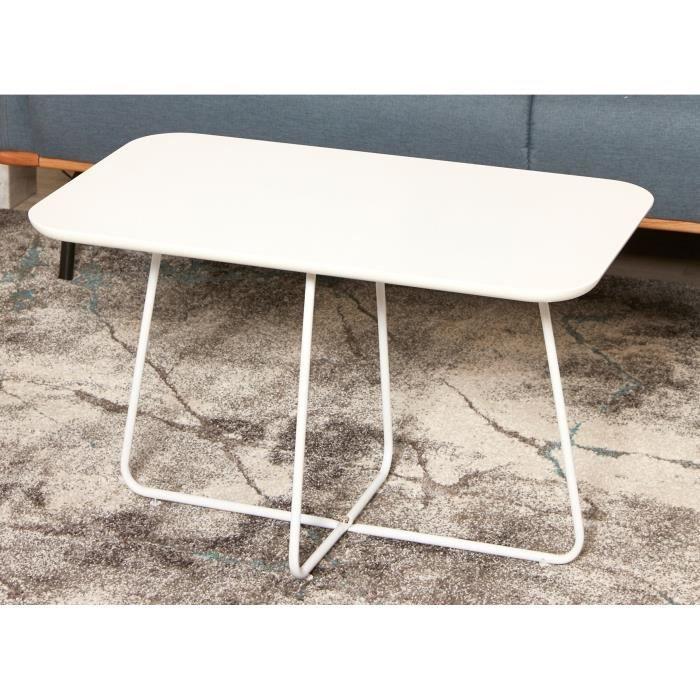 FELMANN Table basse style contemporain blanc brillant avec pieds en métal - L 77 x l 45 cm
