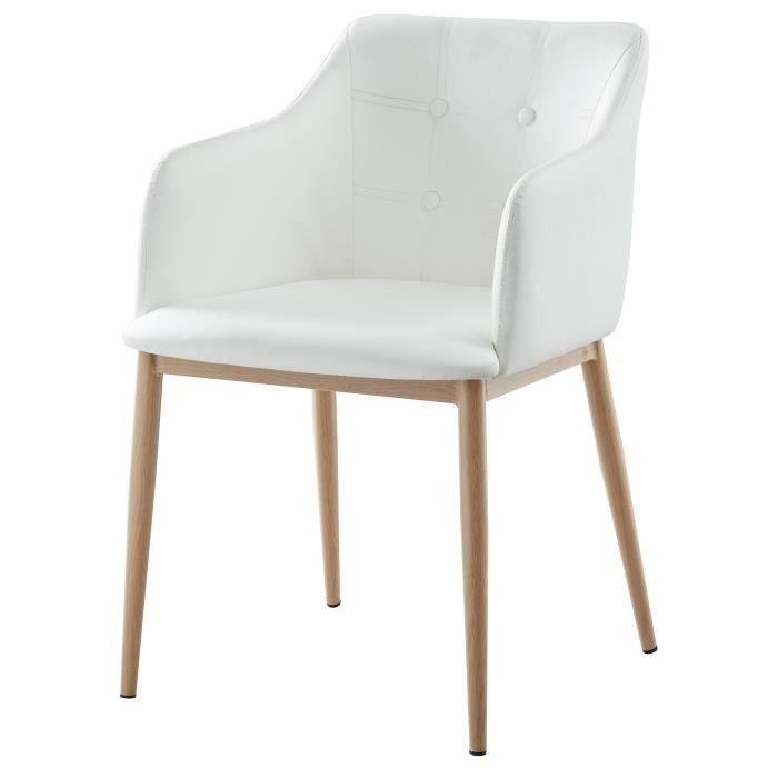 Métal imitation bois - Revêtement simili blanc - Assise L 58 x P 54 cmCHAISE