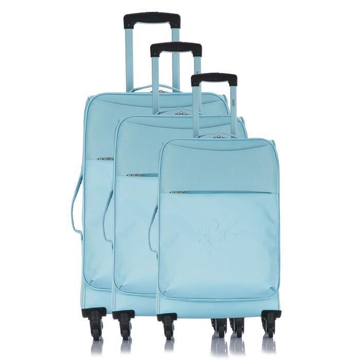 LES P'TITES BOMBES Set de 3 Valises Souple 4 Roues 50-60-69 cm ANAïS Blue