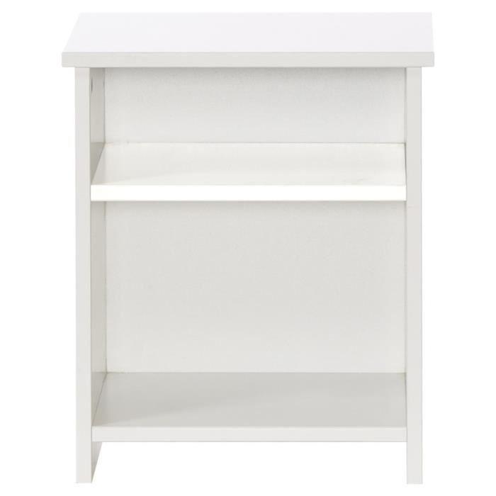 MDF E1 laqué blanc satiné - L 35 x P 40 x H 46 cm - 2 niches de rangement - Fabrication françaiseCHEVET