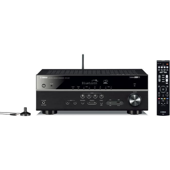 YAMAHA HTR4071BL Amplificateur Home-Cinéma 5.1 - 80 W stéréo - Bluetooth - 4 X HDMI - MusicCast