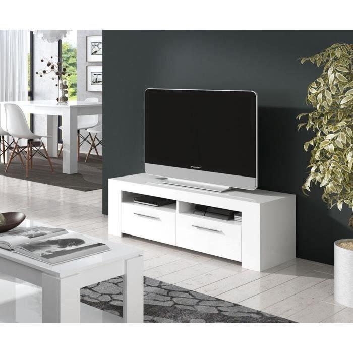 DIAMENTINO Meuble TV contemporain blanc brillant - L 120 cm