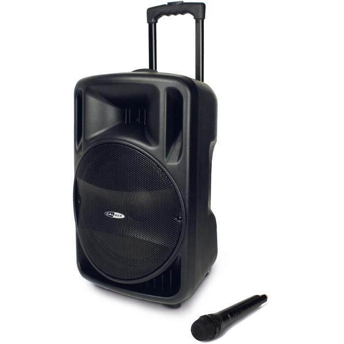 CALIBER HPG 521BT Enceinte mobile Bluetooth amplifiée avec batterie intégrée et fonction Karaoké (Sing-Along) - Noir