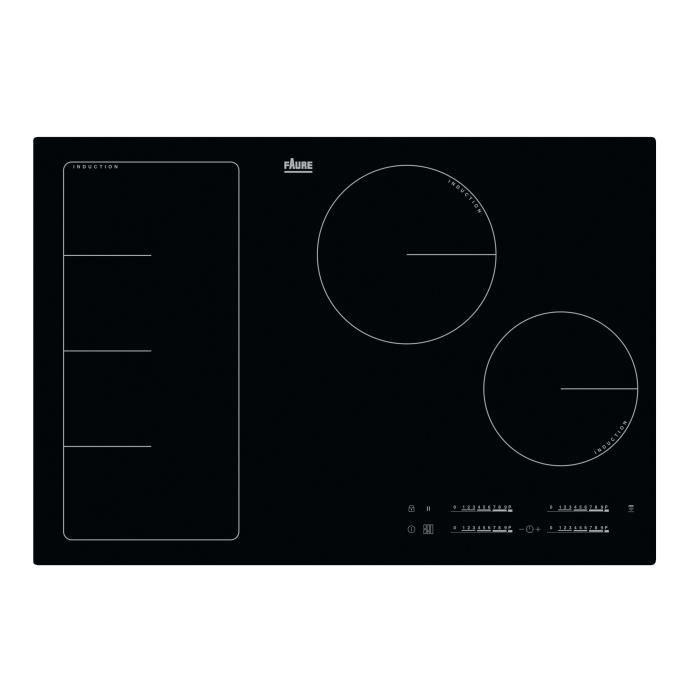FAURE FIF8471CB-Table de cuisson induction-4 zones-7350 W-L 78 x P 52 cm-Revêtement verre-Noir