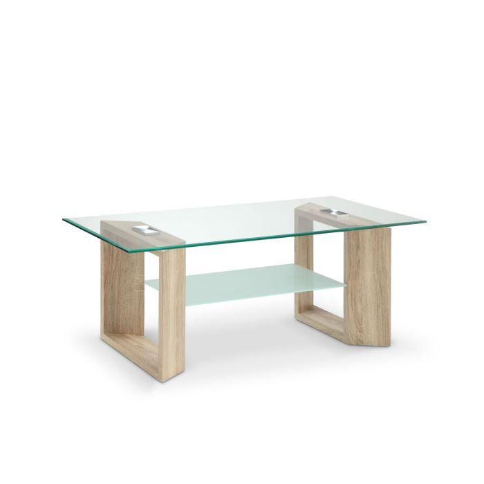 SAMARA Table basse style contemporain - Décor chêne naturel et vert mat - L 110 x l 60 cm