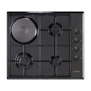 OCEANIC CTM3G1EB - Table de cuisson mixte gaz / électrique-4 foyers-L58xP51cm-Rev?tement email-Noir