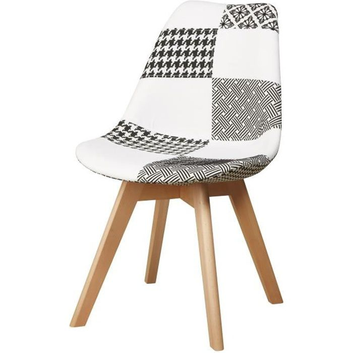Revêtement tissu patchwork gris et blanc + pieds en bois de hêtre naturel - L 51 x P 57 x 49 cmCHAISE