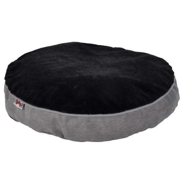 AMI CONFORT Coussin rond déhoussable design polaire 60x8 cm - Gris et noir - Pour chien