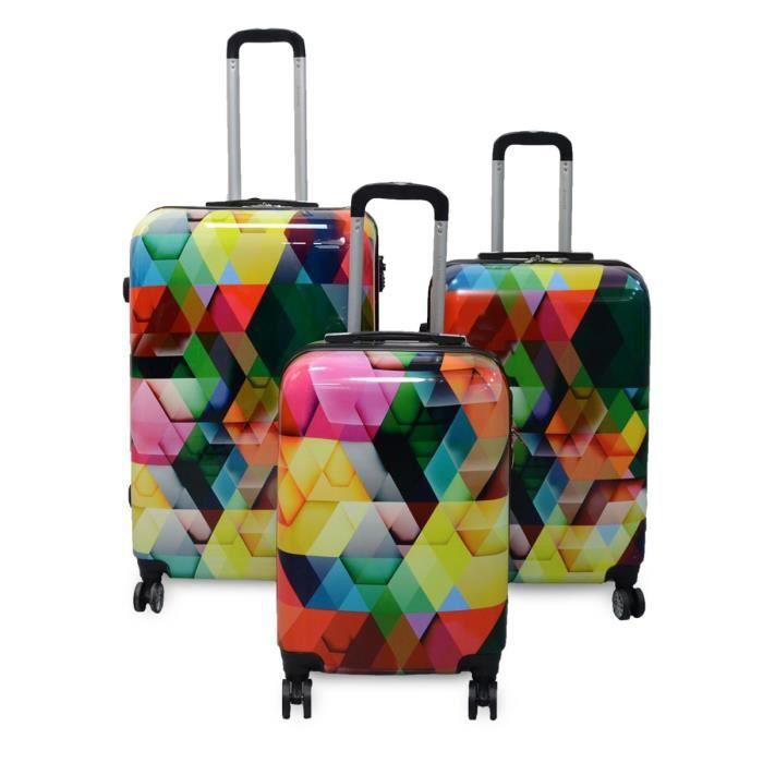 KINSTON Set de 3 Valises rigides Losanges - Coque ABS + PC - 4 roues - Multicolore