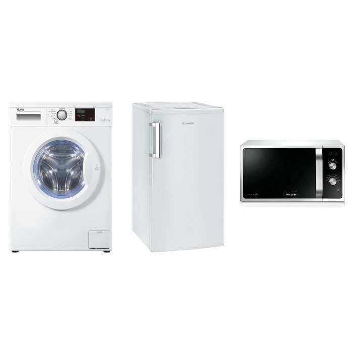 HAIER HW60-1411N Lave-linge frontal - 6 kg + CANDY CCTOS502WH Réfrigérateur table 84 L + 13 L + SAMS