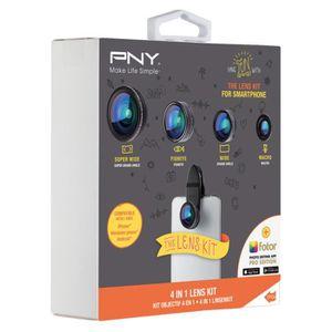 PNY The Lens Kit 4 en 1 Kit d'Objectifs pour Smartphone Noir