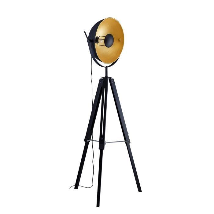 HOUSTON Abat-jour de lampadaire trépied Photographe - Ø 40 x H 20 cm - Noir