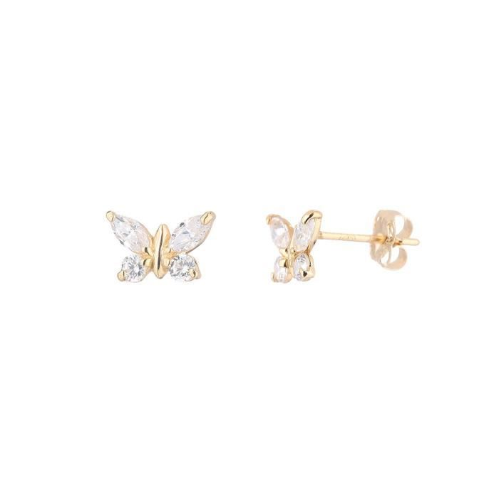 YSORA - Boucles D'Oreilles Papillon Or Jaune et Oxydes - Enfant