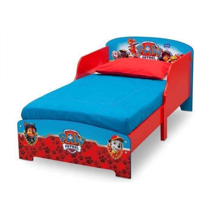 PAT PATROUILLE - Lit Enfant en Bois - Rouge et Bleu - 70 x 140cm