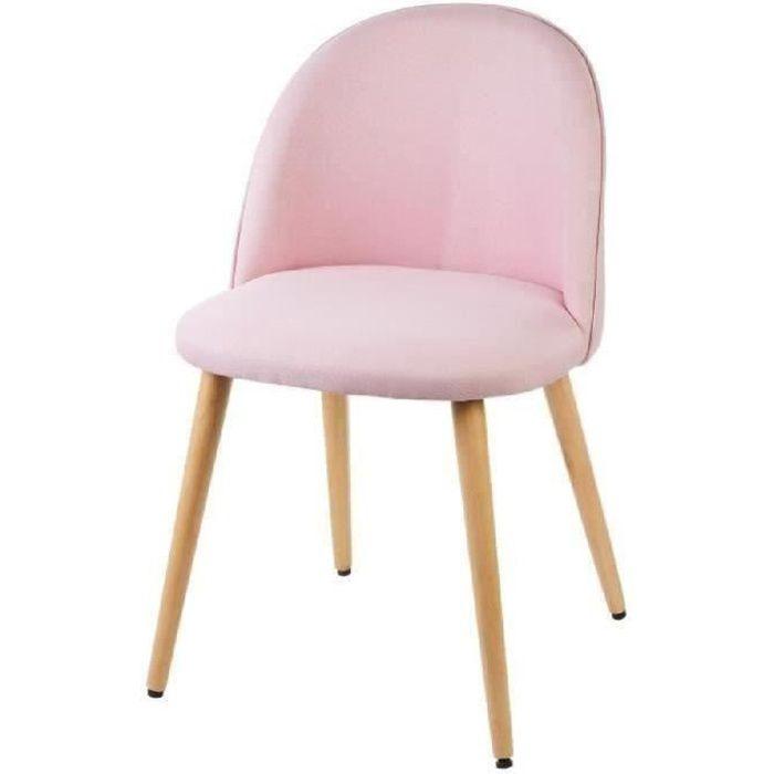MACARON chaise de salle à manger - Tissu rose pastel - Scandinave - L 50 x P 50 cm