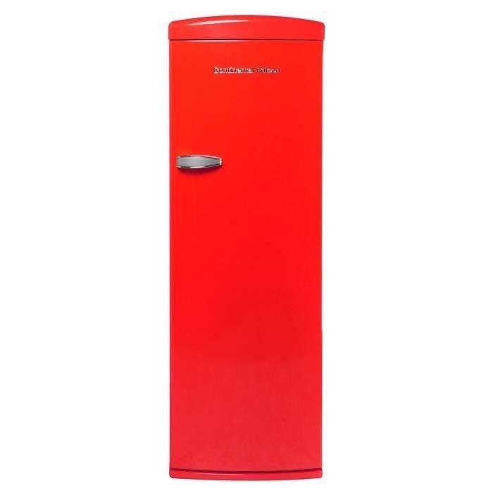 CONTINENTAL EDISON CE1DF311RV - Réfrigérateur 1 porte - 311L - Froid brassé - A+ - L 60,5cm x H 176,9cm - Rouge