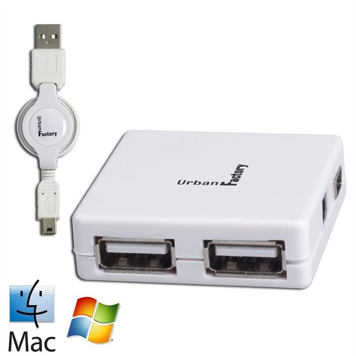 URBAN FACTORY Concentrateur Crazy Hub USB - 4 ports 2.0 - Retractable - Blanc