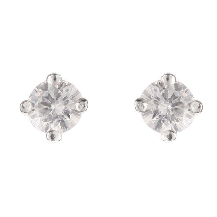 MONTE CARLO STAR Boucles d'Oreilles Or Blanc 750° et Diamants 0.20 cts Femme