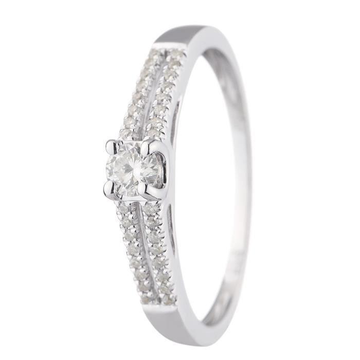 MONTE CARLO STAR - Bague de Fiançailles en Or Blanc 18 Carats et Diamants - Femme