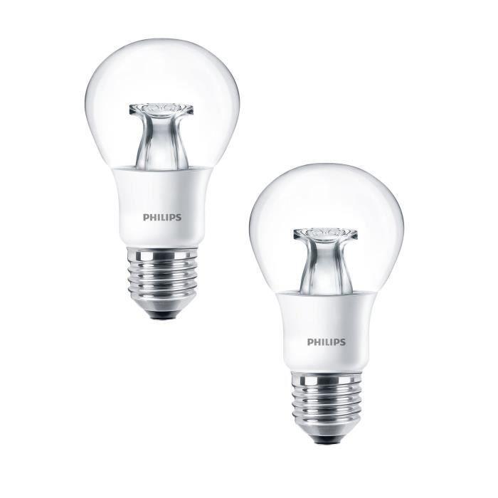 PHILIPS Lot de 2 ampoules LED E27 6 W équivalent à 40 W 2700 K