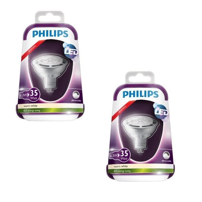 PHILIPS Lot de 2 ampoules spot LED GU5,3 6,3 W équivalent à 35 W 2700 K