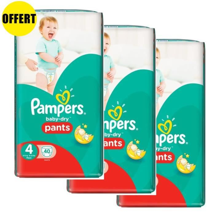 Pampers Baby Dry Pants Taille 4 - Lot de 3 Géants - 120 couches