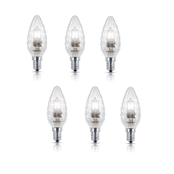 PHILIPS Lot de 6 ampoules halogène E14 18 W équivalent à 23 W