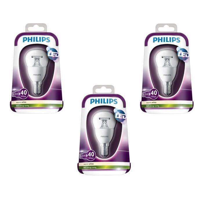 PHILIPS Lot de 3 ampoules LED E14 5,5 W équivalent à 40 W 2700 K