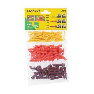 STANLEY Sachet souple transparent de 100 chevilles en nylon ? 5, 6 et 7 mm sans vis STF27101-XJ
