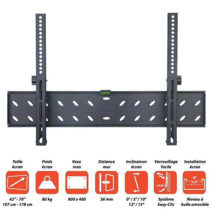 """Support pour écrans de 42"""" à 70"""" ( 107cm à 178cm ) - VESA max : 800 x 400 - Charge maximale supportée : 80Kg - Distance au mur : 36 mm...FIXATION TV - SUPPORT TV - SUPPORT MURAL POUR TV"""