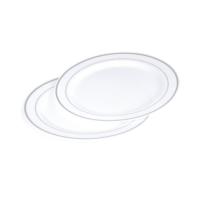 ASSIETTE JETABLE Lot de 6 assiettes blanches avec liseré argent dia