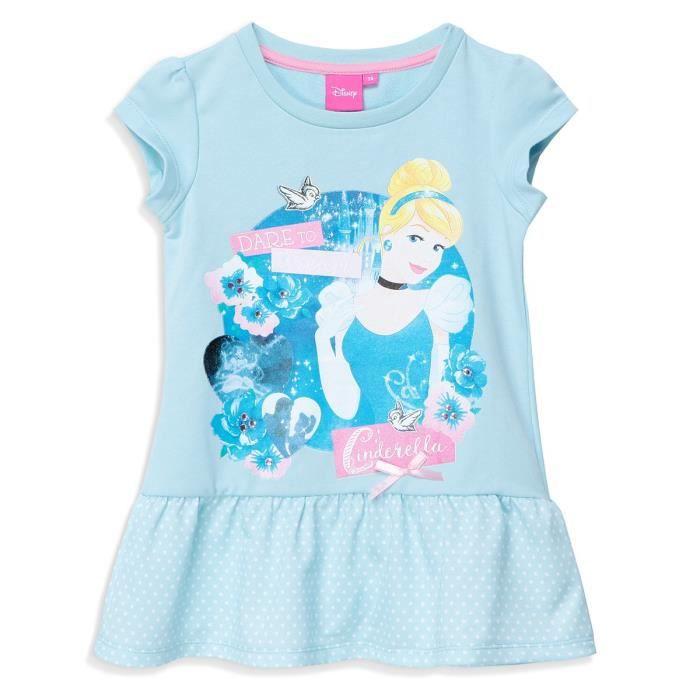 PRINCESSE Robe Manches Courtes Bleu Sérigraphié Enfant Fille