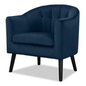 FAUTEUIL JOYCE Fauteuil - Velours bleu - Classique - L 70 x